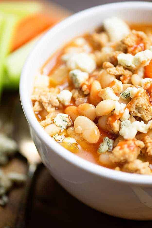 This white bean chicken chili is full of buffalo sauce and spicy flavor.