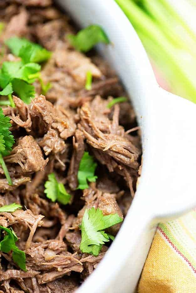 Mexican shredded beef- so good in tacos and burritos!