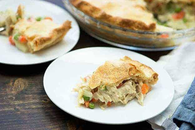 easy chicken pot pie on white plates