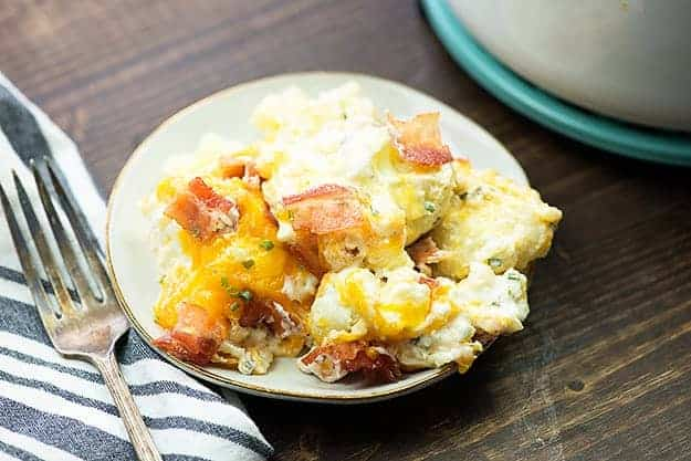 Keto cauliflower recipe - this loaded cauliflower is full of bacon and cheddar!