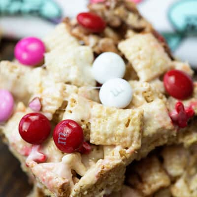 These Valentine treats are made with Chex, marshmallows, and lots of Valentine's Day candies.