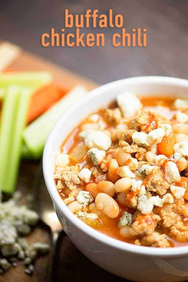 This buffalo chicken chili recipe is loaded with spice. Top it off with some blue cheese or cheddar and serve with carrots and ranch on the side.