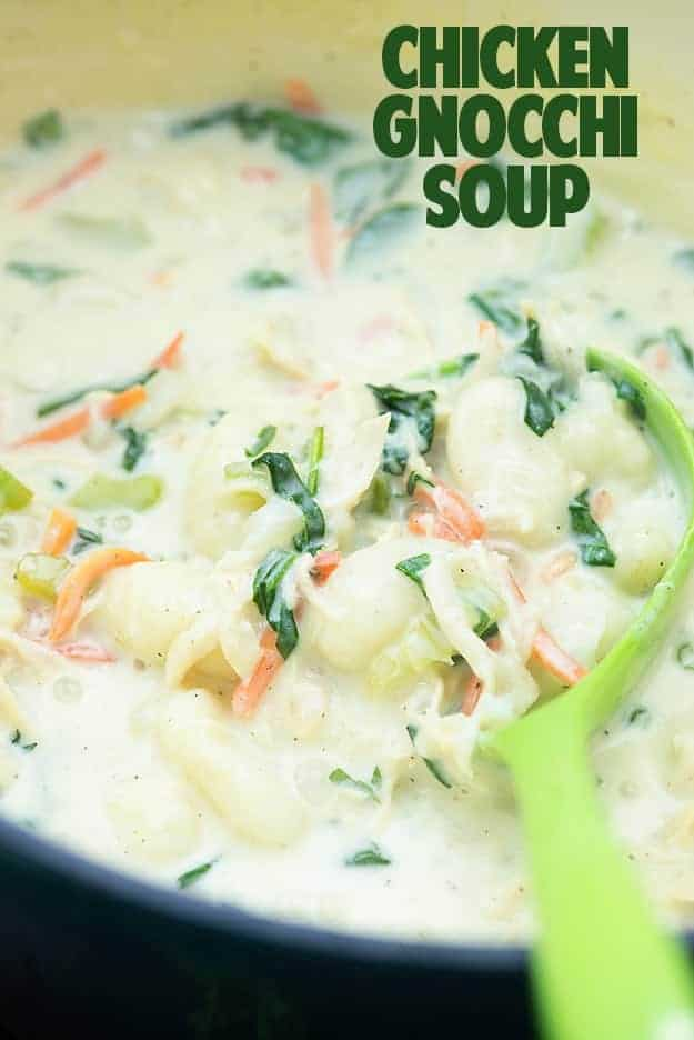 This soup is a great copycat of the Olive Garden Chicken Gnocchi Soup! You've gotta try it!
