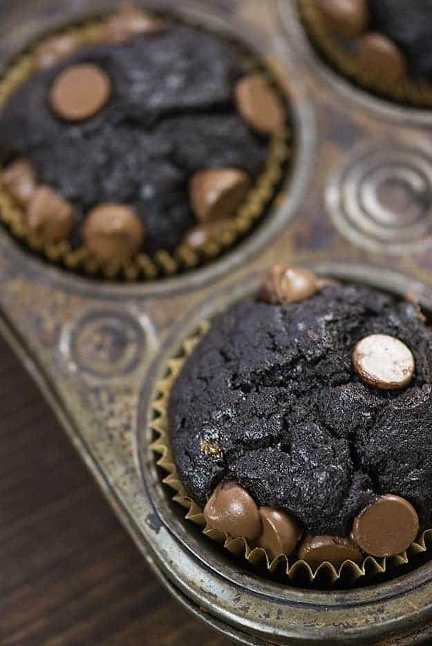 We're pretty in love with these double chocolate banana bread muffins!