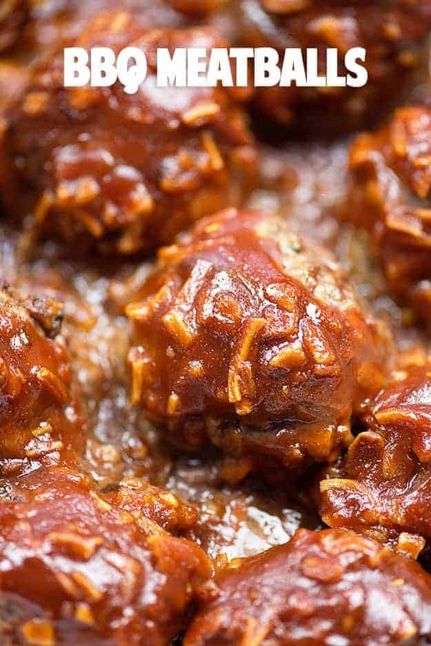 We love these bbq meatballs served over mashed potatoes!