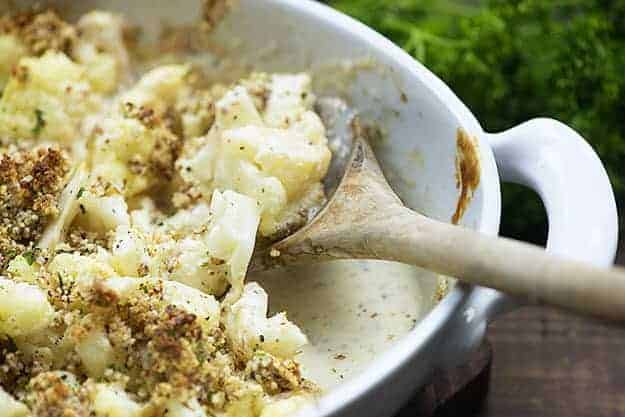 keto mac and cheese in baking dish