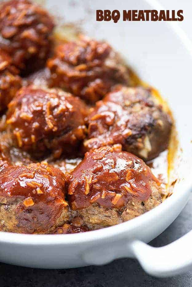 These BBQ meatballs are made with a simple homemade barbecue sauce mixture that's just three ingredients!! Talk about comfort food!