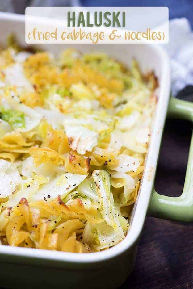 fried cabbage and noodles recipe in baking dish
