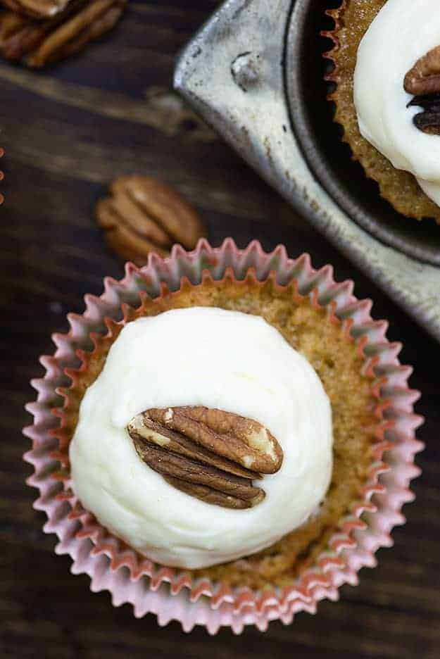 Carrot cake cupcake with cream cheese frosting