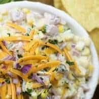 easy corn dip in white bowl