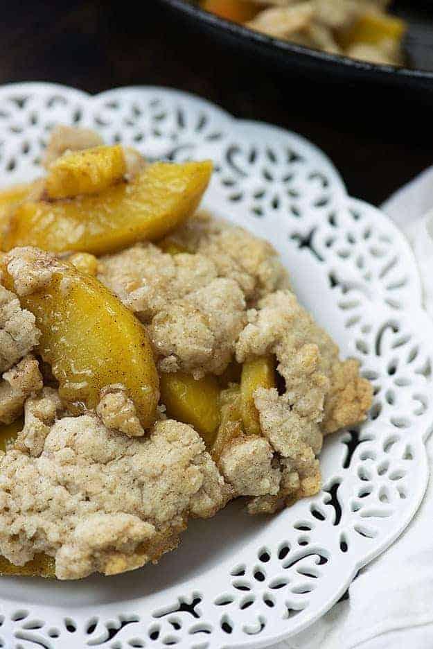 easy peach cobbler on white plate