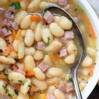 ham and bean soup recipe close up