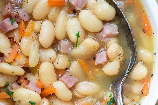 ham and bean soup recipe close up