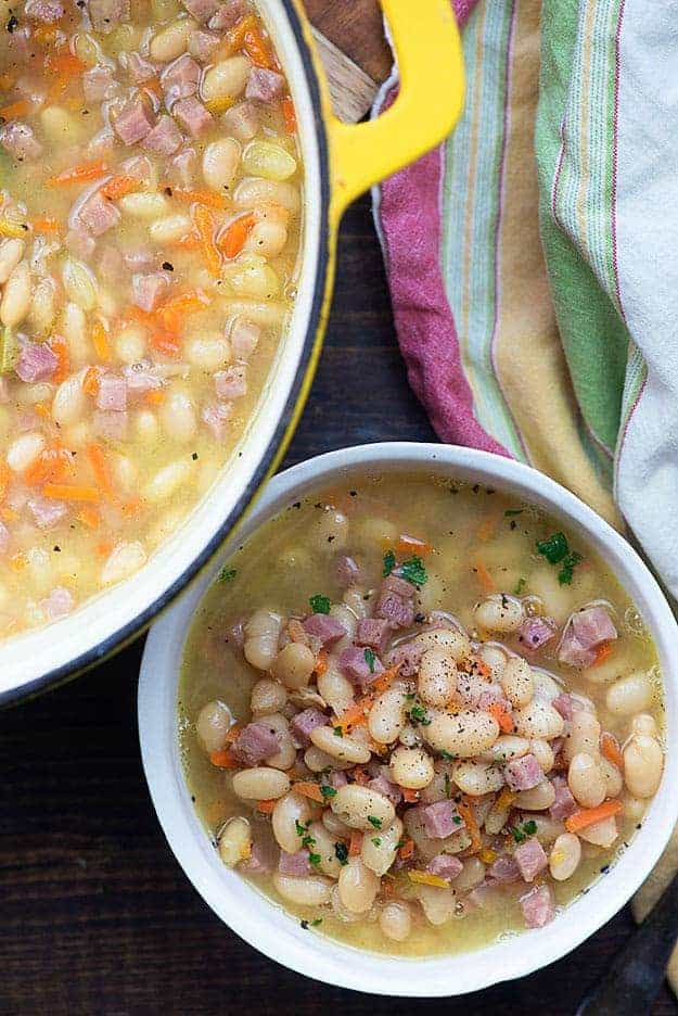 Northern bean and ham soup in pot