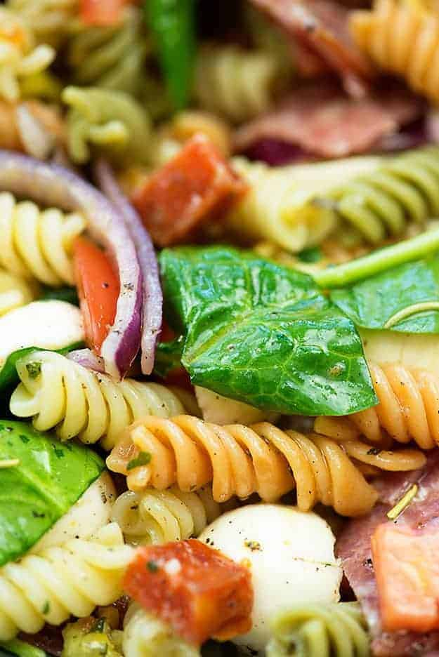 close up of pasta salad recipe