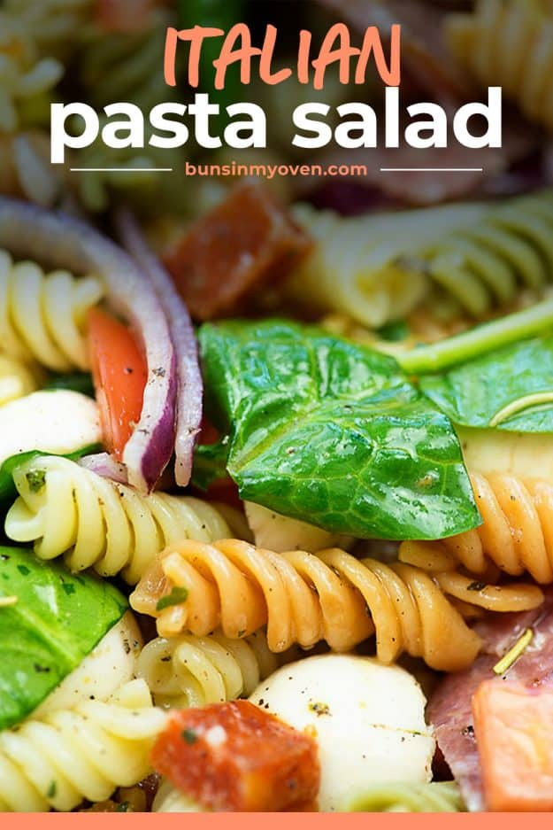 Italian pasta salad with spinach and veggies.