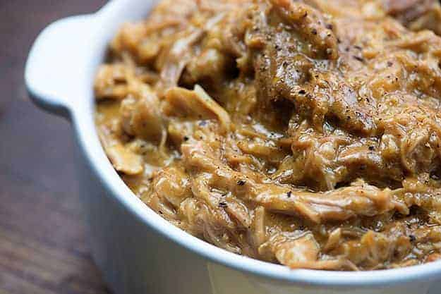 crock pot pork roast in bowl
