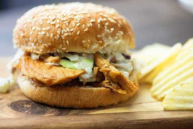 crock pot bbq chicken on a bun