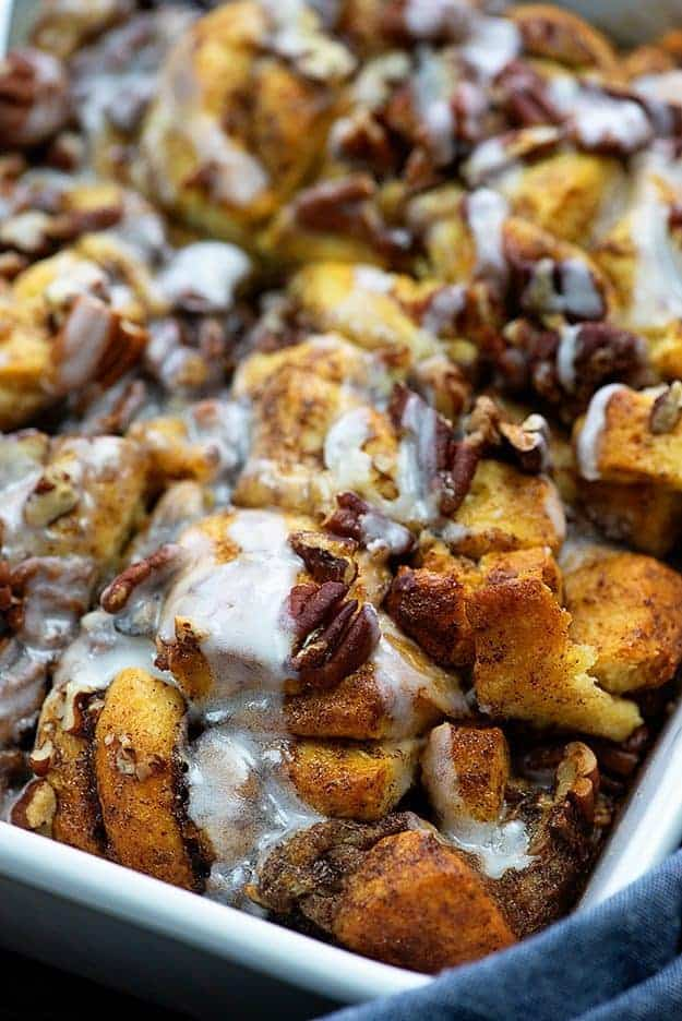 overnight french toast casserole in white baking dish