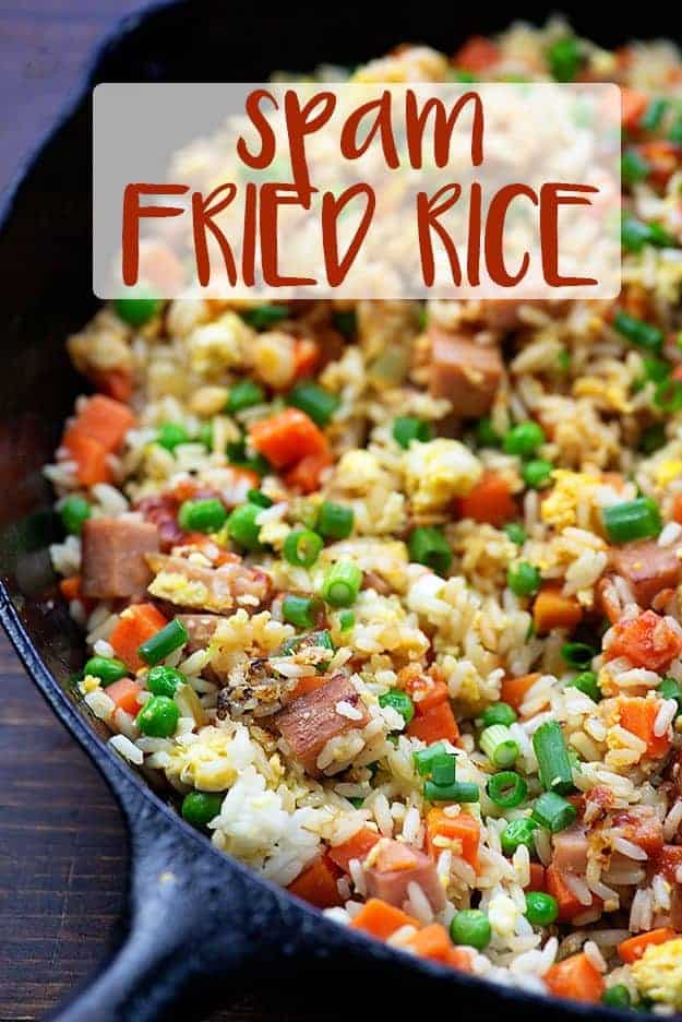 spam fried rice in skillet