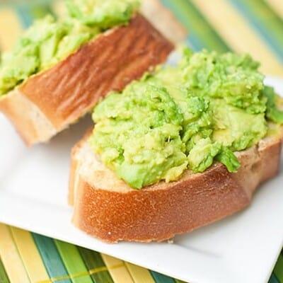 A close up of avocado toast