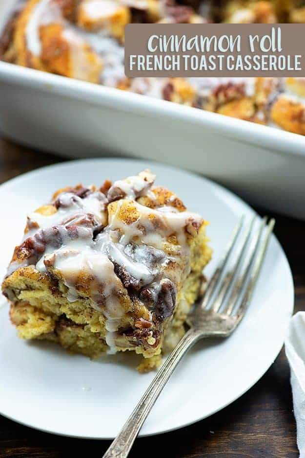 This cinnamon roll french toast casserole starts with a couple of cans of cinnamon rolls and bakes up into the tastiest french toast casserole ever!! Extra icing on mine, please!