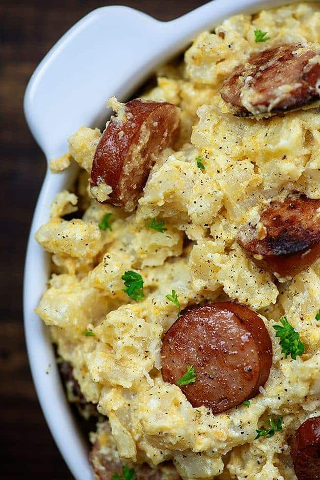 crockpot cheesy potatoes with smoked sausage