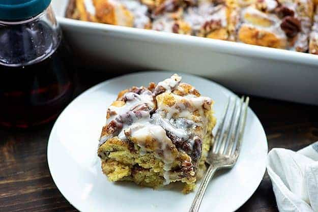 easy french toast casserole on white plate
