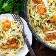 homemade alfredo with shrimp in white dish