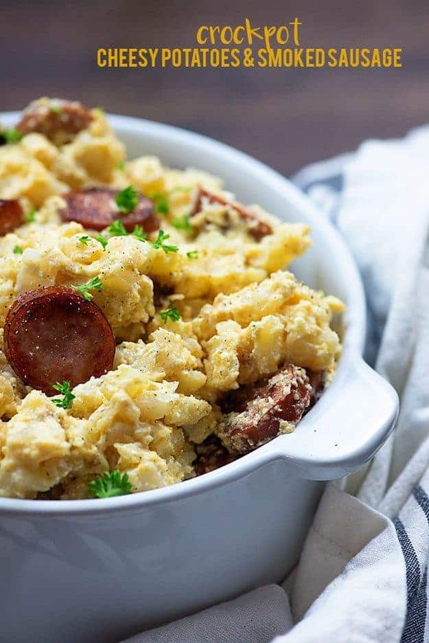 Slow cooker cheesy potatoes with smoked sausage!