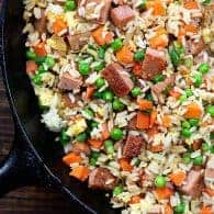 fried rice recipe in cast iron skillet