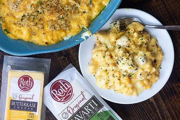 baked mac and cheese on white plate featuring Roth cheese