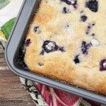 Blueberry breakfast cake in a baking sheet