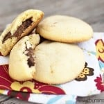 Three Nutella sugar cookies on a cloth napkin