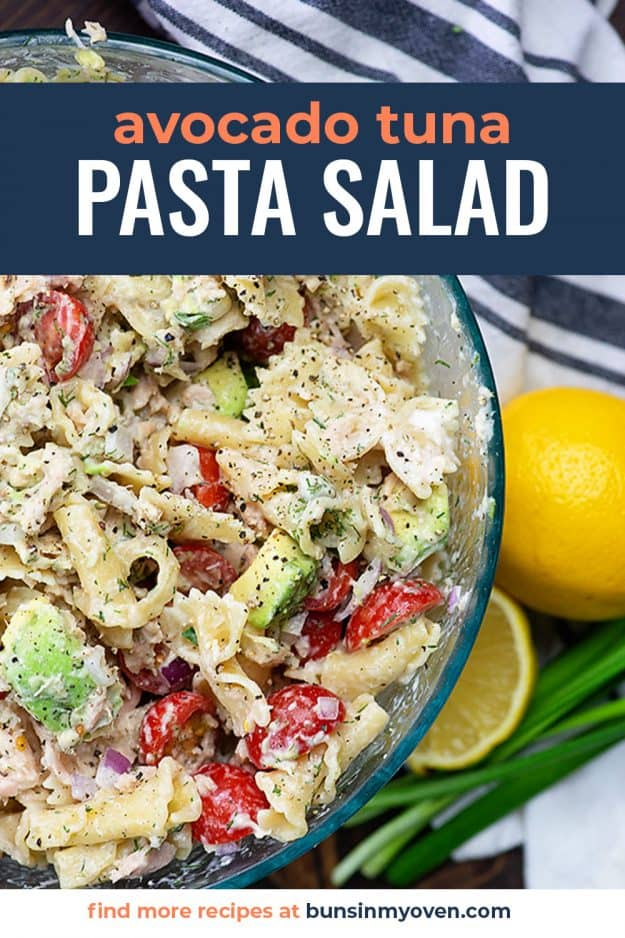 glass bowl full of cold tuna pasta salad