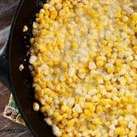 A close up of southern corn in a cast iron skillet
