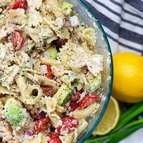 Tuna pasta salad recipe in glass bowl
