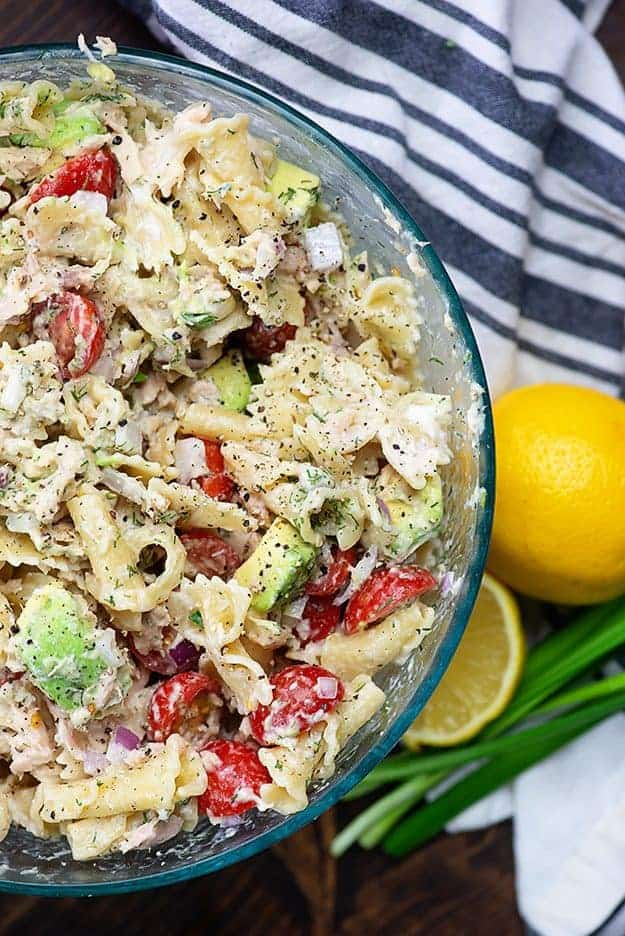 Tuna pasta salad recipe in glass bowl