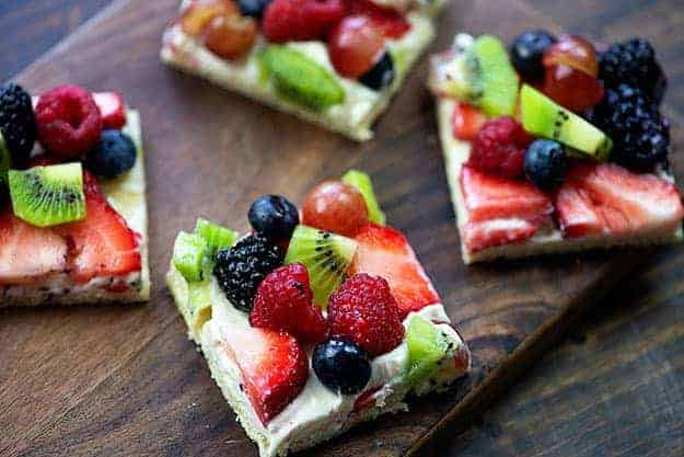 fresh fruit salad on pizza crust with cream cheese