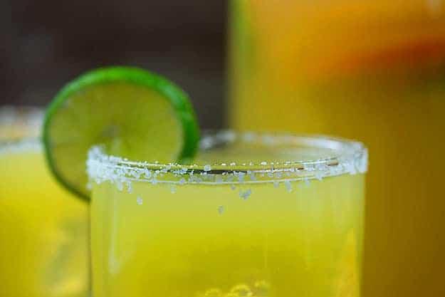 homemade margarita recipe in glass with salt rim