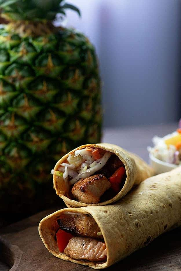 Grilled Pork Sandwich Wraps with pineapple coleslaw! These wraps are perfect for summer! #recipe #summer #pork
