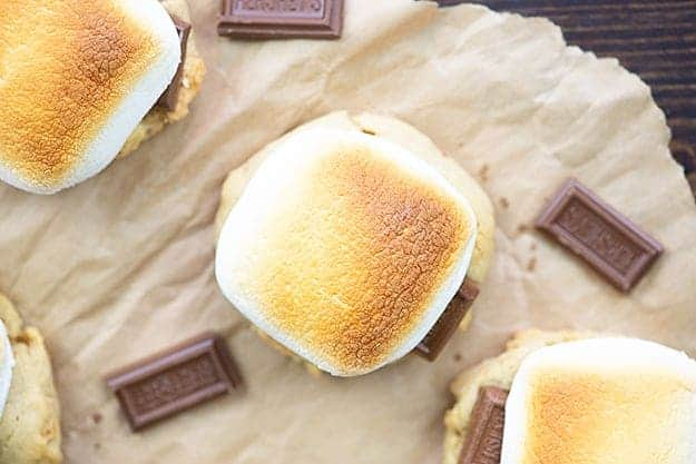 s'mores cookie recipe on parchment paper