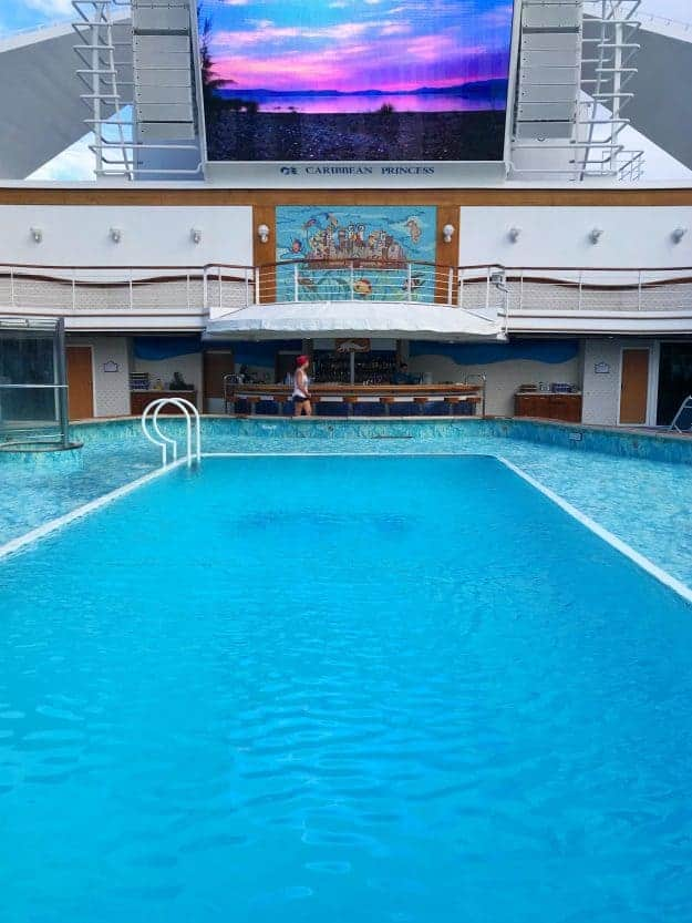A large pool on a cruise ship