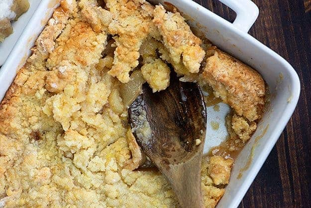 easy apple cobbler in white baking dish