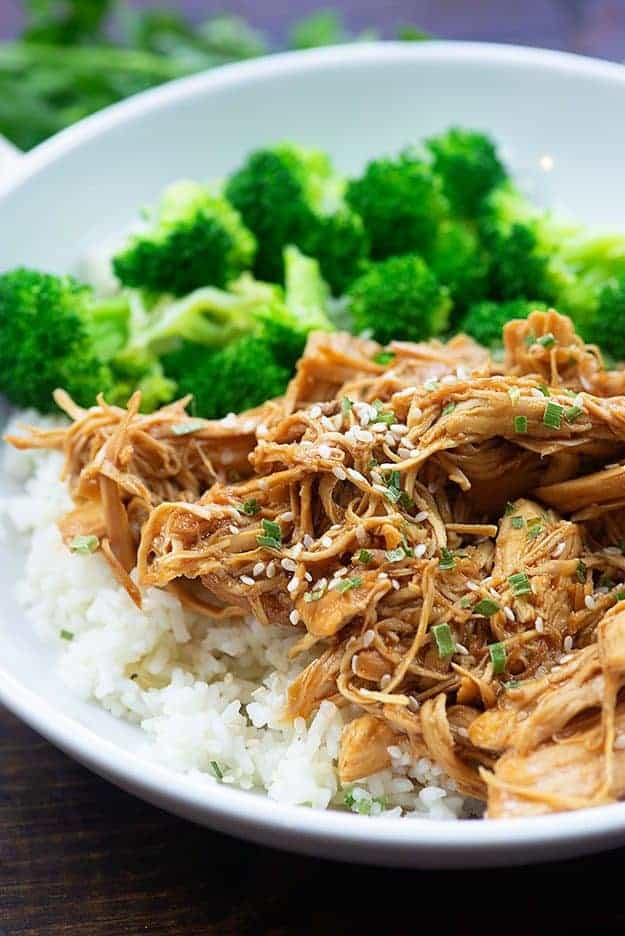 Shredded chicken and broccoli on a white plate.