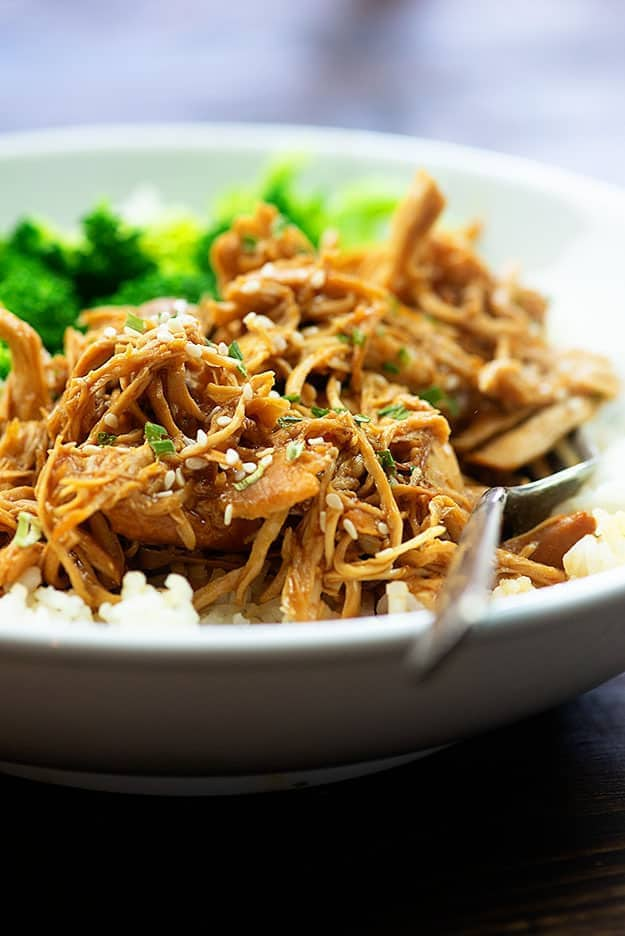 A white bowl of shredded chicken.