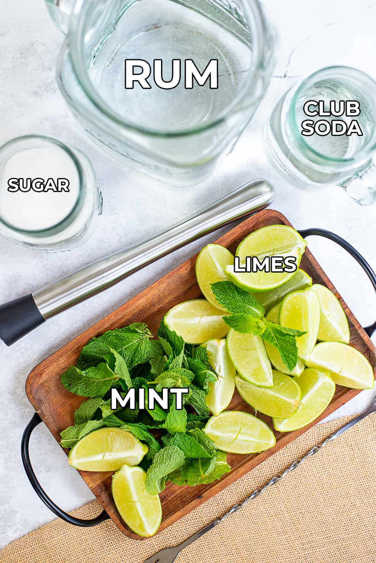 ingredients for mojitos.