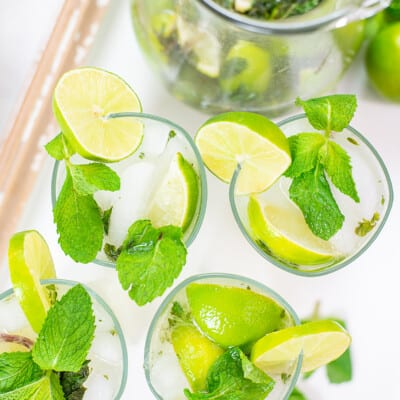 overhead view of mojitos.