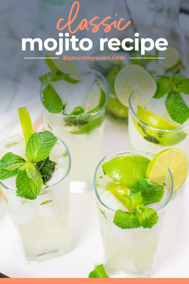 mojitos in glasses with text for Pinterest.