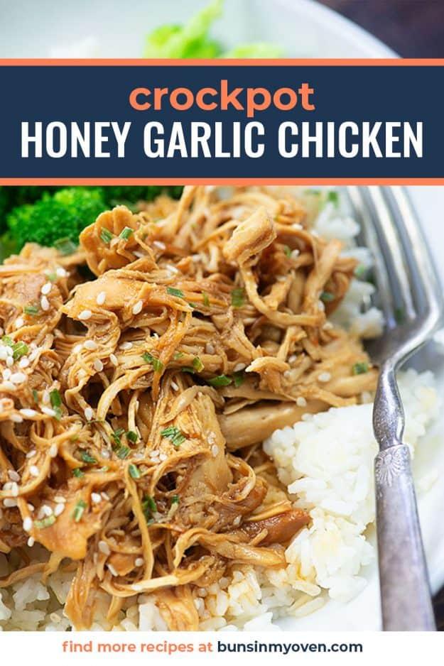 crockpot honey garlic chicken in bowl with rice.